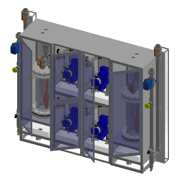 Submerged DC2 system (SubDC2) line of chlorine dioxide generators